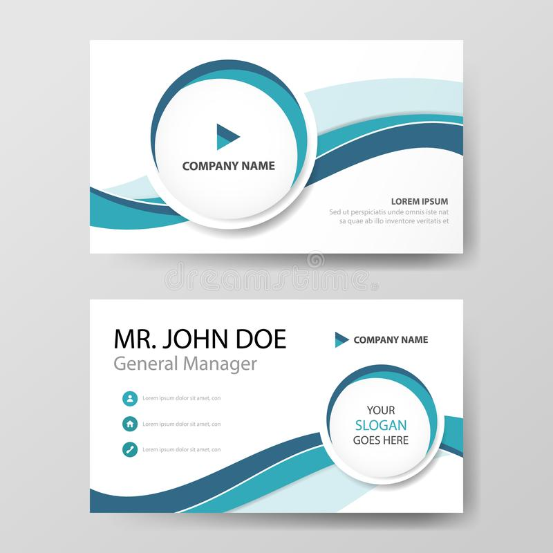 Błękitnego okręgu korporacyjna wizytówka, imię karty szablon, horyzontalny prosty czysty układu projekta szablon, Biznesowy sztan royalty ilustracja