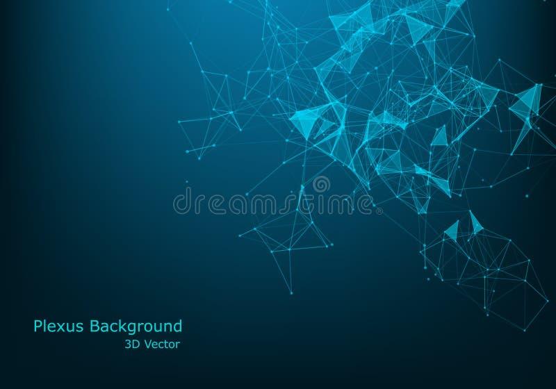 Błękitnej fantazji abstrakcjonistyczny technologii, inżynierii i nauki tło z, wykłada Głębia pole na plecy perskiego dywanu szcze ilustracja wektor