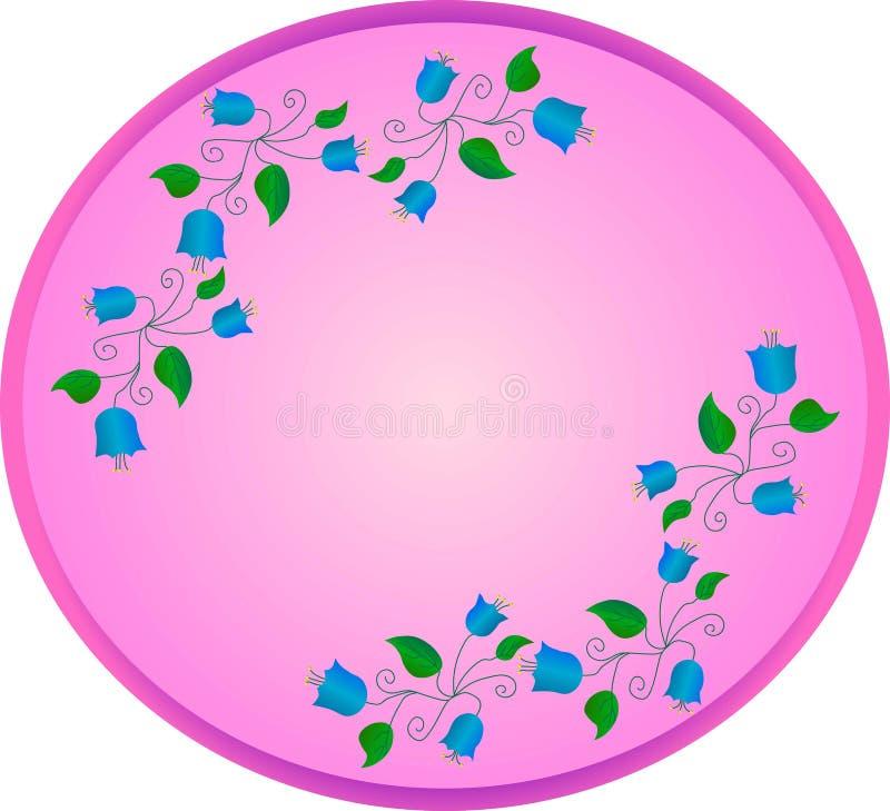 błękitni dzwony z zielonymi liśćmi i kędziory na owalu różowią tło ilustracji