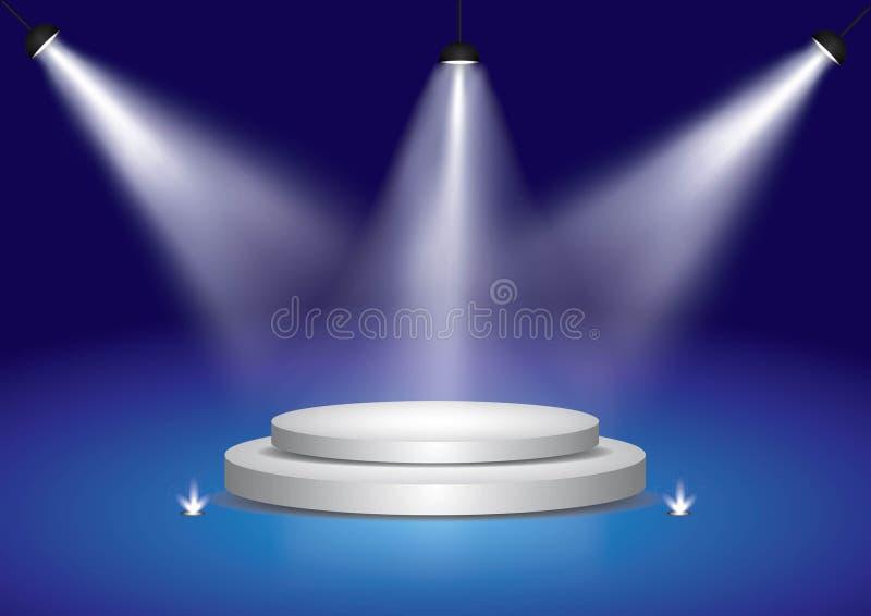 Błękitny światło reflektorów iluminująca sceny podium scena ilustracja wektor