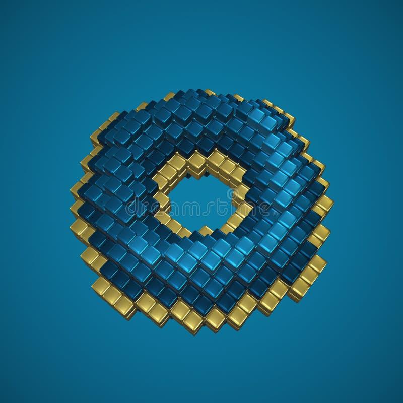 Błękitny i złocisty voxel pączek ilustracja 3 d zdjęcia royalty free