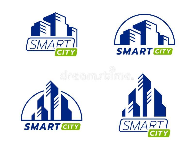 Błękitny i zielony mądrze miasto logo znak z nowożytnego abstrakcjonistycznego isometric budynku inkasowym wektorowym projektem royalty ilustracja