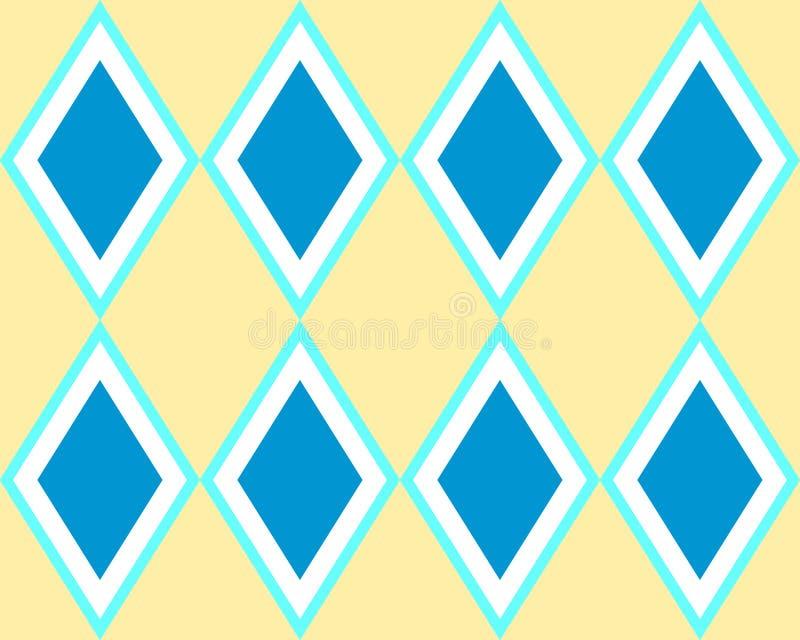 Błękitny koloru żółtego kwadrat tafluje bezszwowego arlekinu wzór ilustracji