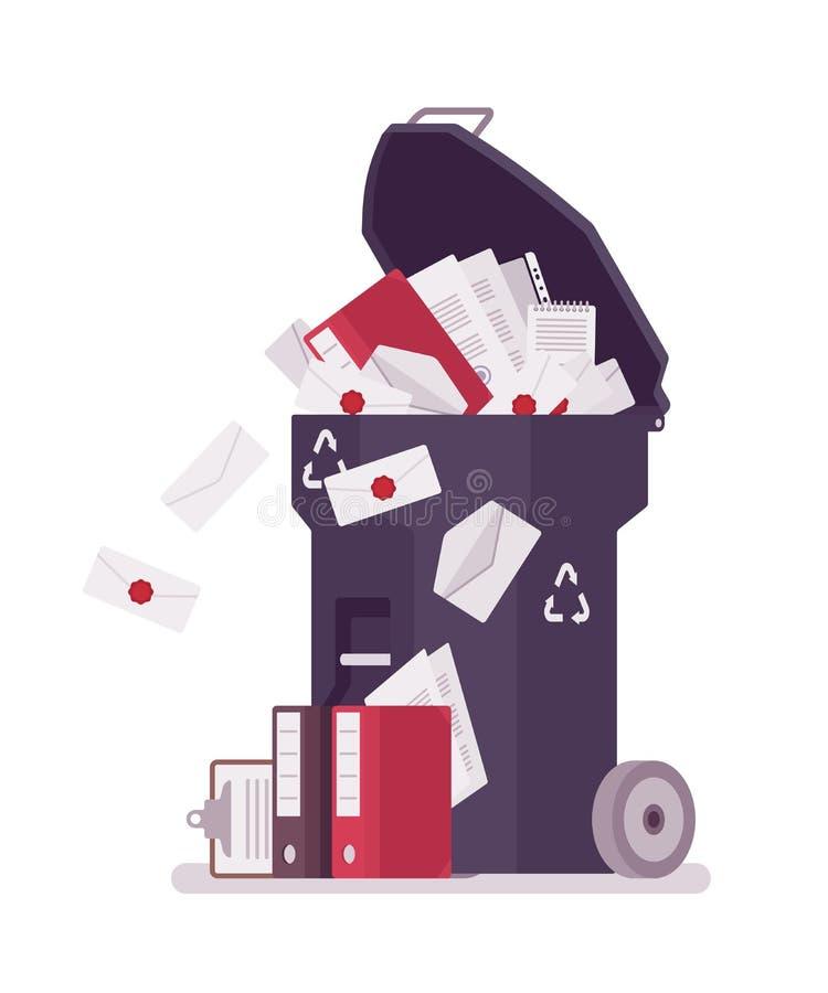 Błękitny kosz na śmieci z papierem i dokumentacją ilustracja wektor