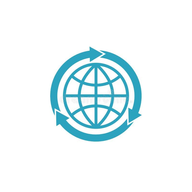 Błękitny kula ziemska logo z strzałami, mockup globalizacja pojęcia znak ilustracji