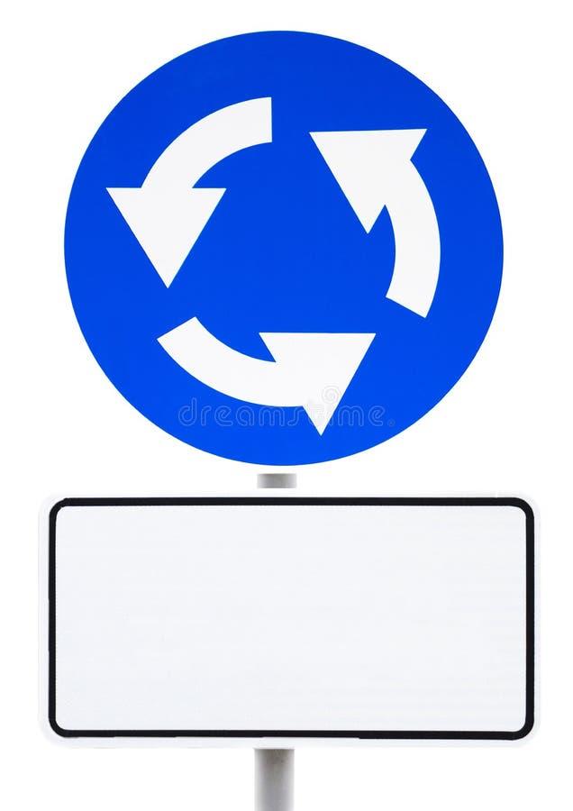 Błękitny obwodnica znak z białym signboard dla inskrypcji obrazy royalty free