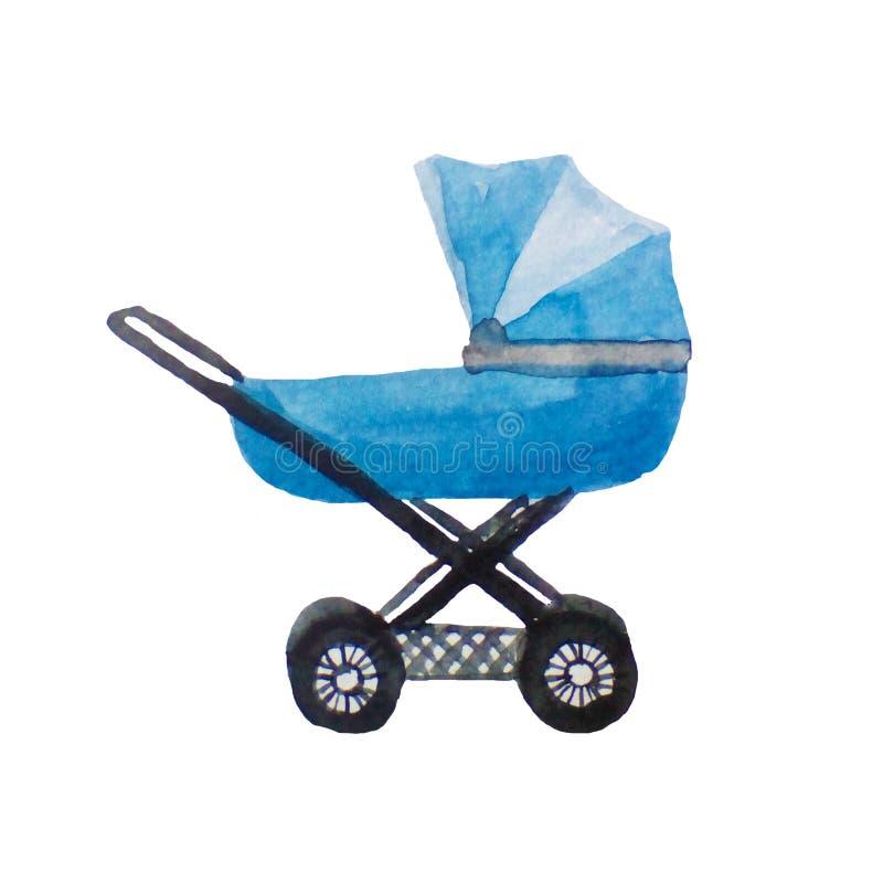 Błękitny spacerowicz dla nowonarodzonego dziecka, akwareli ilustracja na bielu ilustracja wektor