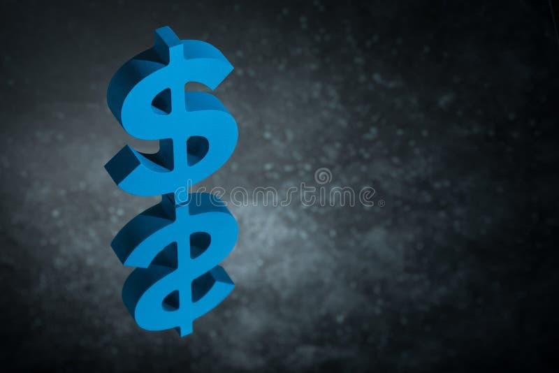 Błękitny USA waluty znak Z Lustrzanym odbiciem na Ciemnym Zakurzonym tle lub symbol zdjęcia stock