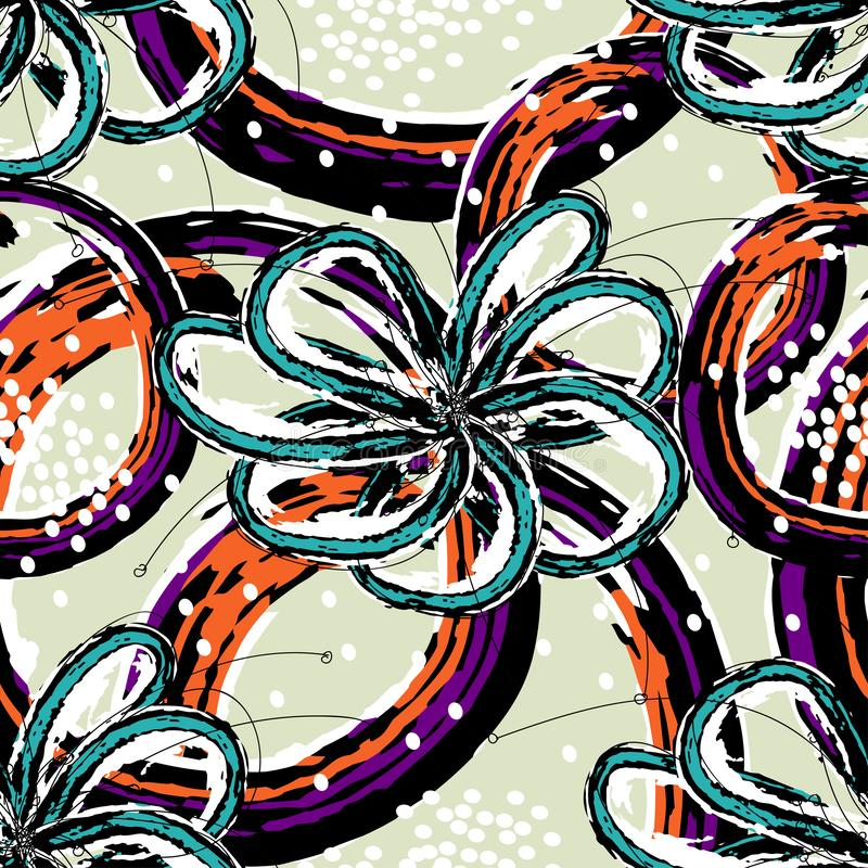 Bławi kwiaty z abstrakcjonistycznymi postaciami pomarańcze i fiołkowi kolory na szarym kolorze ilustracja wektor