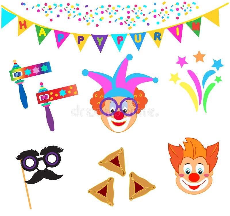 2019 błazenów charakterów maska, Szczęśliwego Purim festiwalu Żydowskie Wakacyjne Karnawałowe ikony ustawiać ilustracja wektor