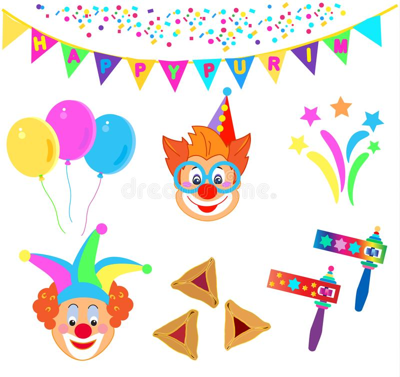 2019 błazenów charakterów maska, Szczęśliwego Purim festiwalu ikon Żydowski Wakacyjny Karnawałowy wzór royalty ilustracja