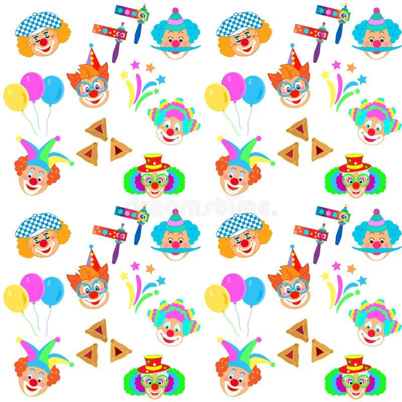 2019 błazenów charakterów maska, Szczęśliwego Purim festiwalu ikon Żydowski Wakacyjny Karnawałowy wzór ilustracja wektor
