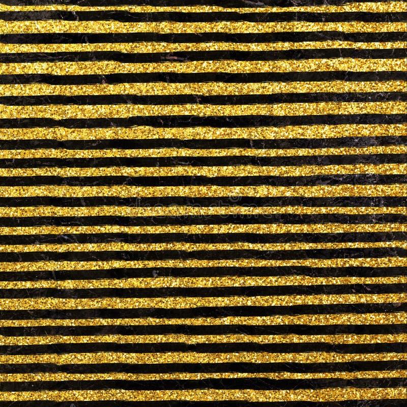 Błyskotliwość lampasów wzór na marmurowym tle Błyskotliwość geometryczny wzór Złocisty okręgu tło royalty ilustracja