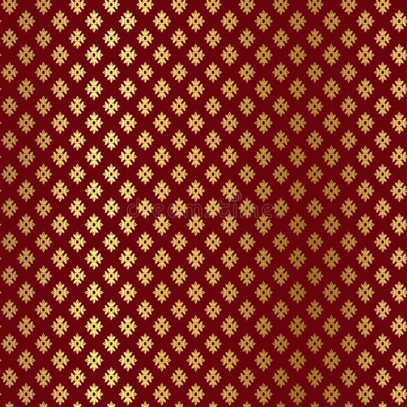 Błyskotliwość ornamentu wzór na Burgundy tle Złoto, błyskotliwość geometryczny wzór Złocisty ornamentu tło ilustracja wektor