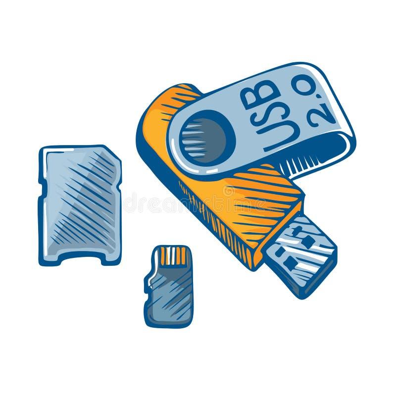 Błyskowa pamięć USB royalty ilustracja