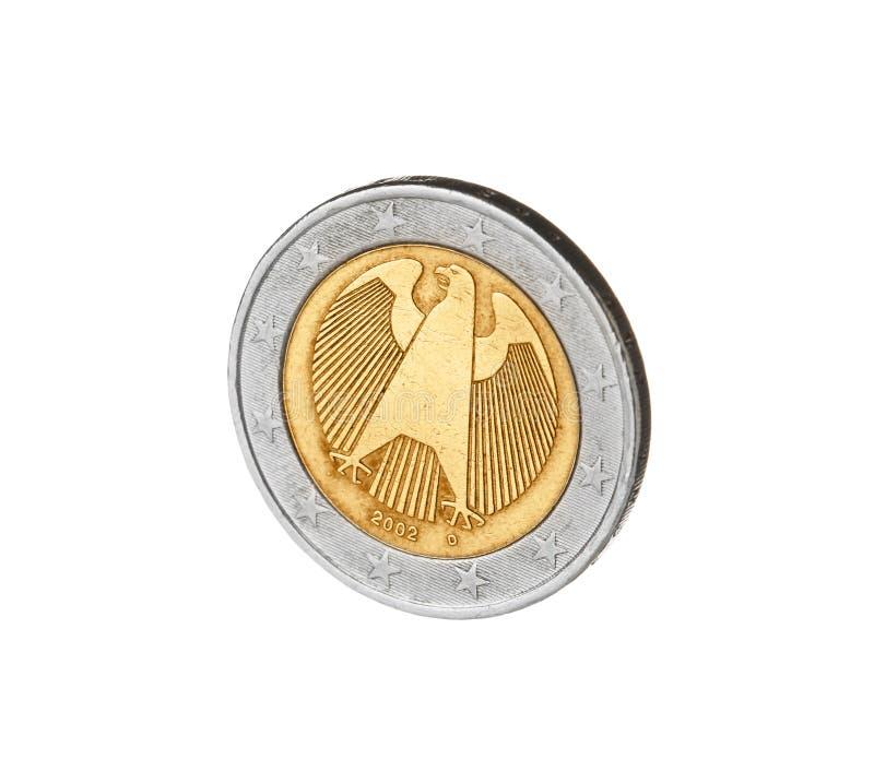 Błyszcząca Niemiecka euro moneta obraz stock