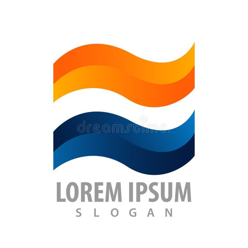 Błyszczący mieszkanie fali logo pojęcia projekt Symbolu szablonu elementu graficzny wektor royalty ilustracja