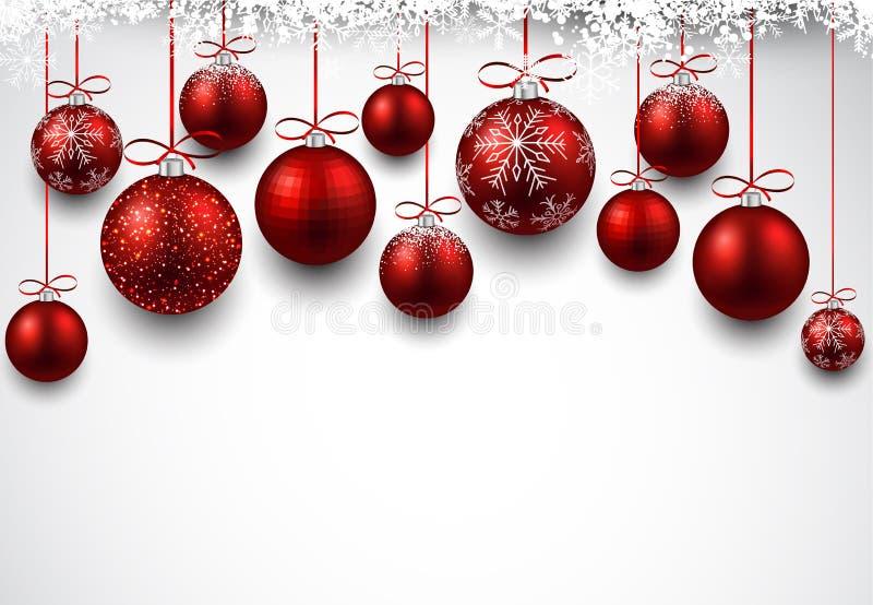 Bågbakgrund med röda julbollar vektor illustrationer