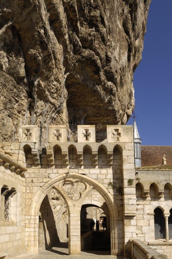 Båge av churc Rocamadour, Frankrike arkivfoto