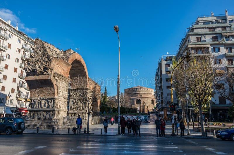 Båge av Galerius eller Kamara och rotunda Thessaloniki Grecee royaltyfria foton