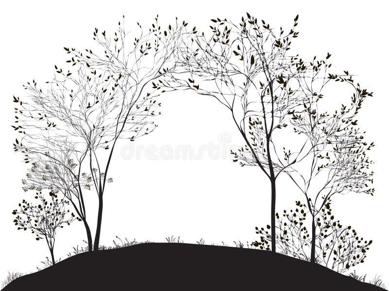 Båge av trädet stock illustrationer