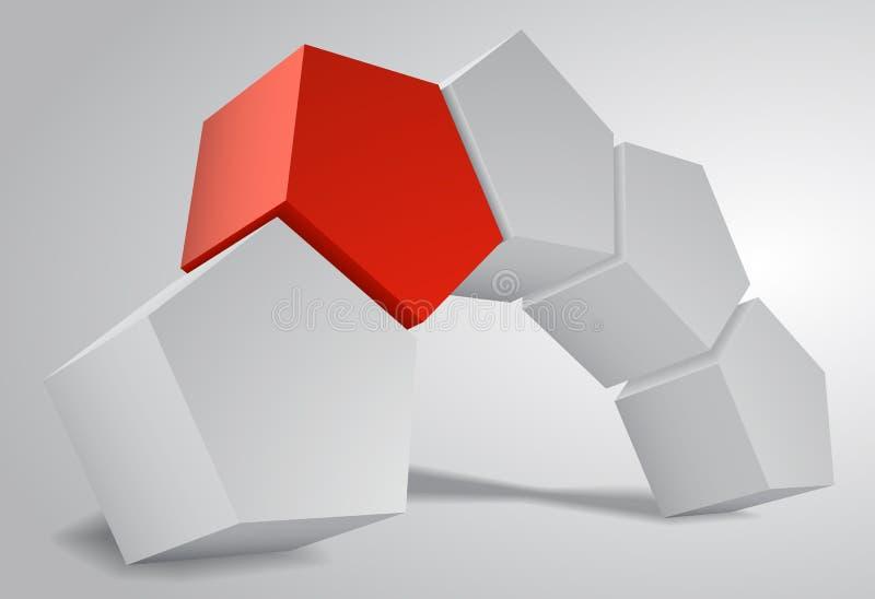 båge 3D av femhörnig prismaPentaprism, vektorillustration. royaltyfri illustrationer