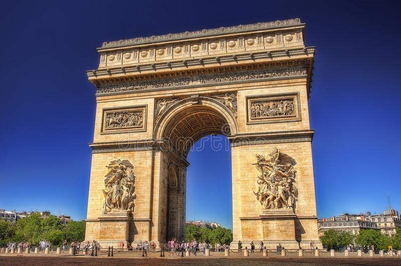Båge de Triomf, Paris, Frankrike royaltyfri fotografi