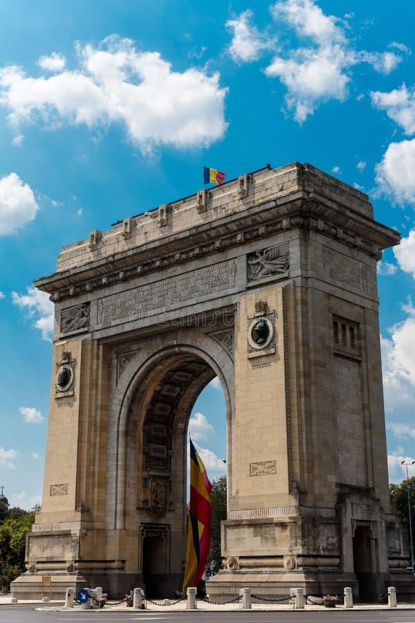 Båge du Triomphe - Bucharest Rumänien fotografering för bildbyråer