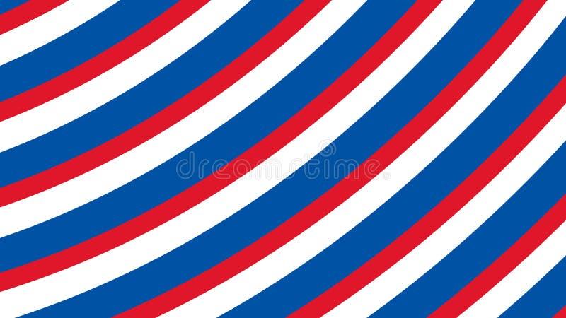 Båge kurvor av blå röd vit färg på amerikanska flaggantemat fjärde juli stock illustrationer