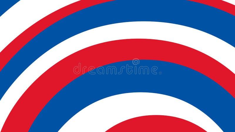 Båge kurvregnbåge av blå röd vit färg på amerikanska flaggantemafjärdedelen juli stock illustrationer