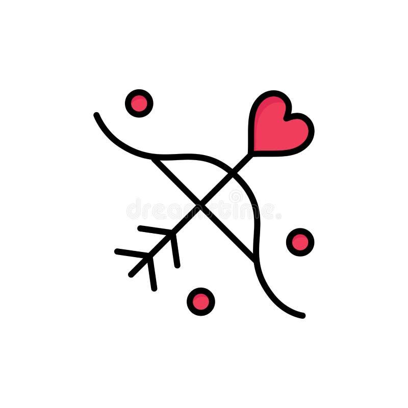 Bågskytte förälskelse, förbindelse som gifta sig den plana färgsymbolen Mall för vektorsymbolsbaner vektor illustrationer
