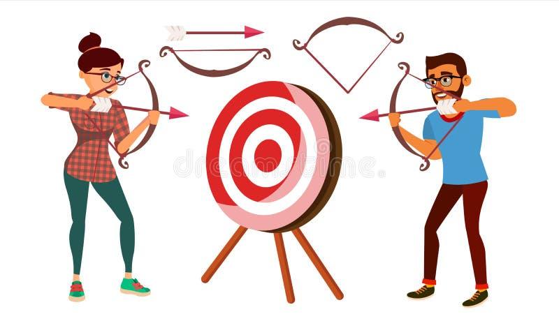 Bågskyttebegreppsvektor Kvinna- och manskytte från en pilbåge i ett mål Bågskyttespelare som siktar på målet Sport utmaning stock illustrationer
