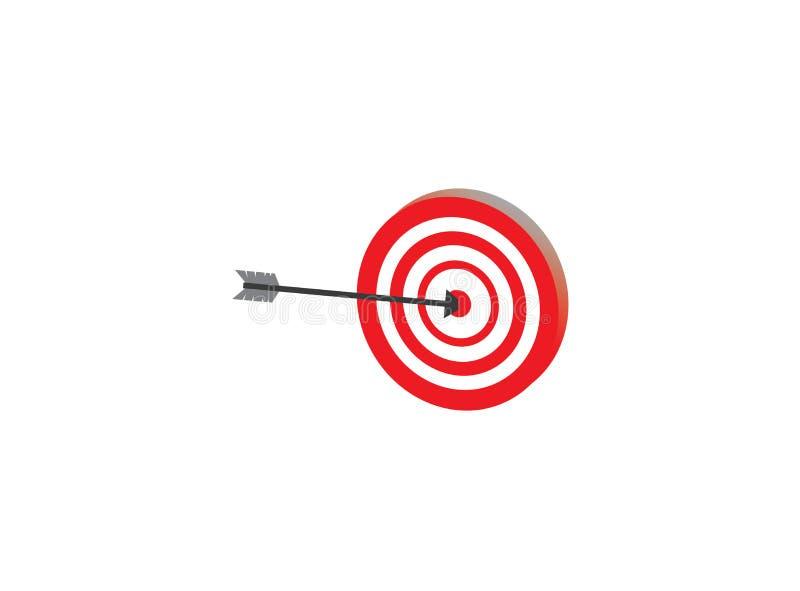 Bågskyttepil i syftemålet av en darttavla för logodesignillustration vektor illustrationer