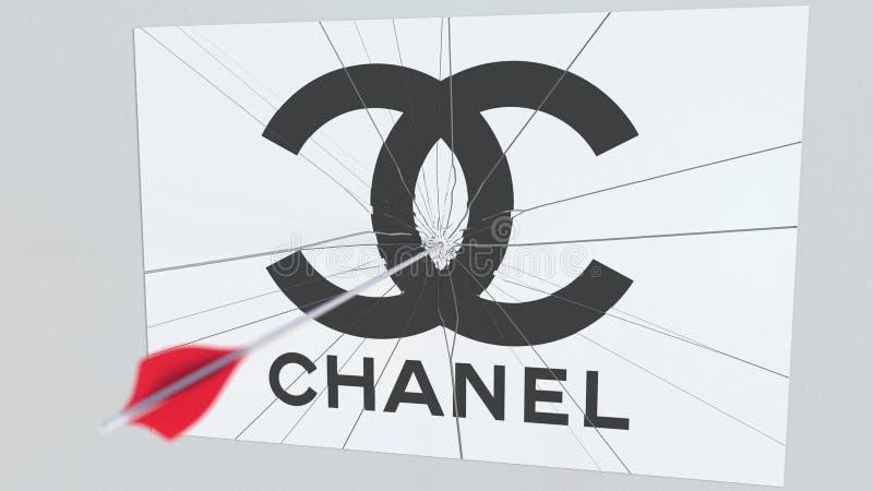 Bågskyttepilen bryter exponeringsglasplattan med CHANEL företagslogo Begreppsmässig redaktörs- tolkning 3D för affärsfråga royaltyfri illustrationer