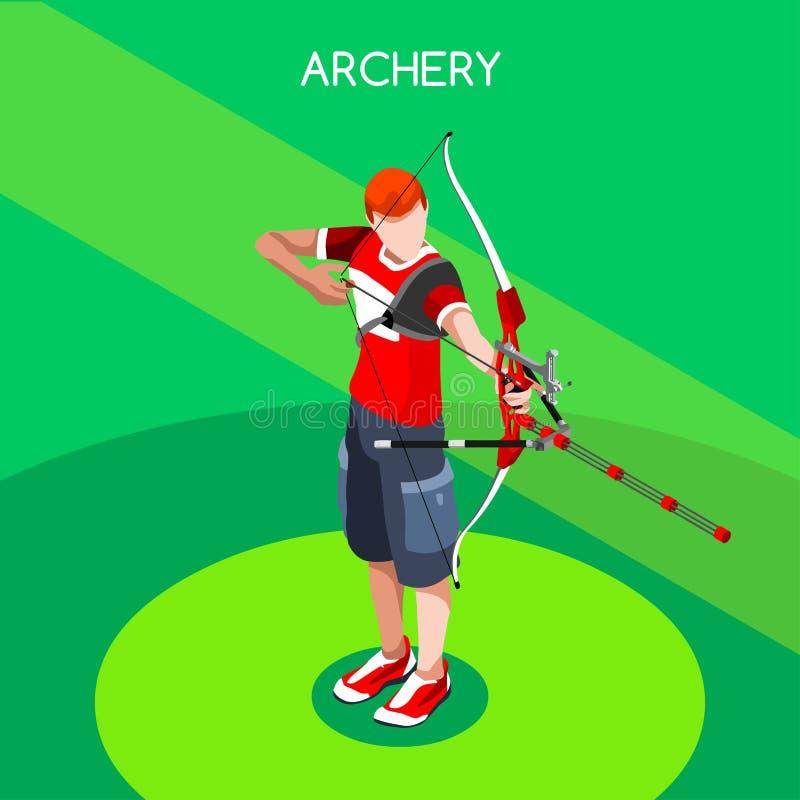 Bågskyttespelaresommar spelar symbolsuppsättningen isometrisk spelare för bågskytte 3D stock illustrationer