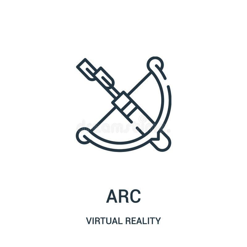 bågsymbolsvektor från virtuell verklighetsamling Tunn linje illustration för vektor för bågöversiktssymbol vektor illustrationer