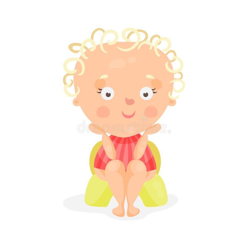 Bébé adorable de bande dessinée s'asseyant sur un pot jaune, illustration colorée de vecteur de caractère illustration libre de droits