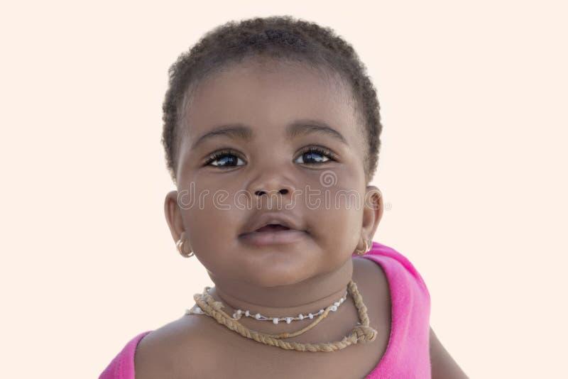 Bébé adorable souriant, neuf mois, d'isolement photographie stock