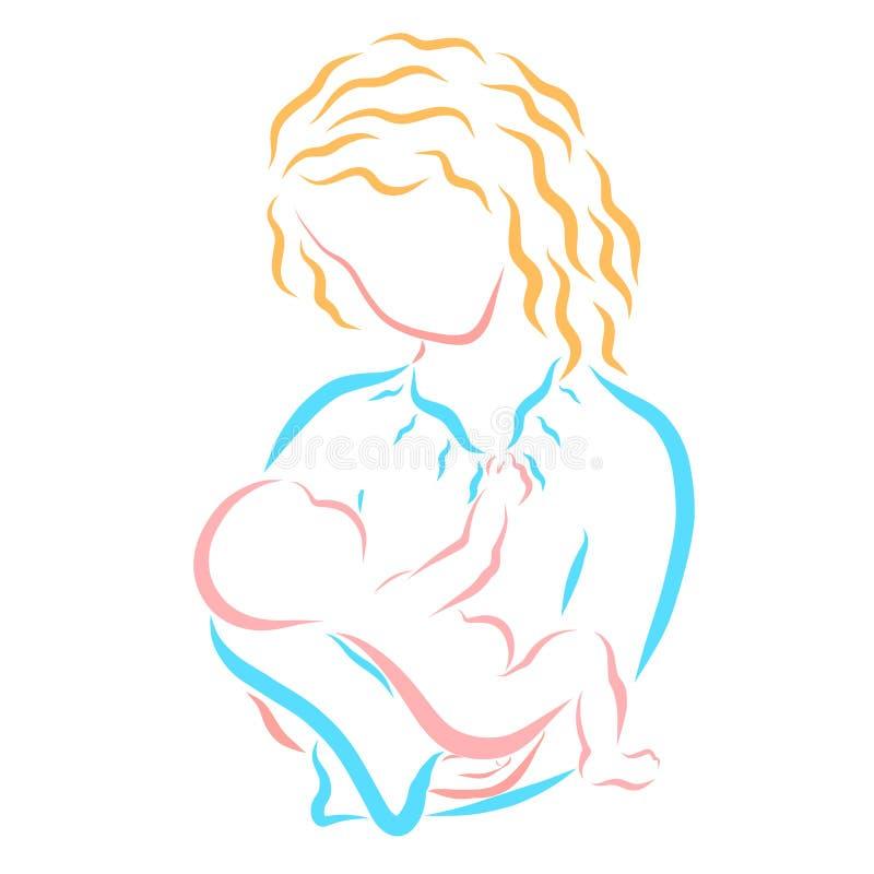 Bébé apaisant, berceuse, soins et santé de mère douce illustration de vecteur