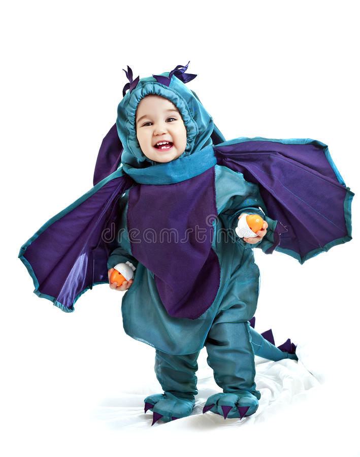 Bébé asiatique dans un dragon costumé photos stock