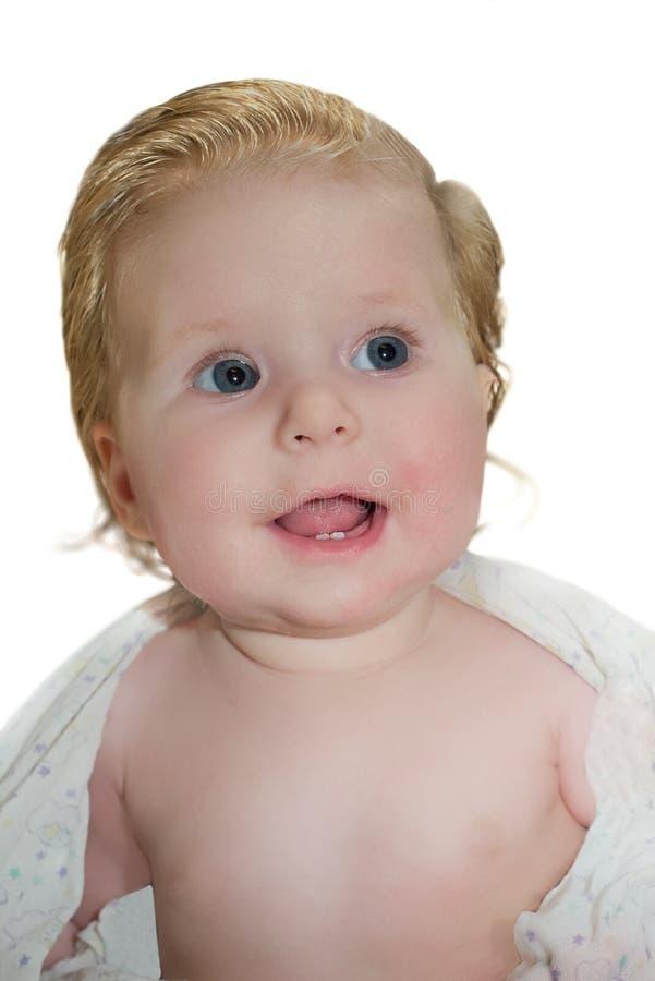 Bébé au-dessus de blanc image libre de droits
