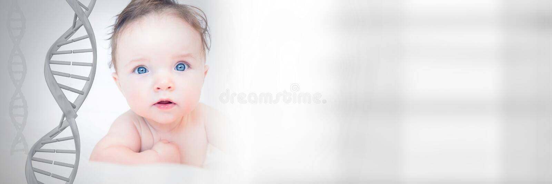 Bébé avec de l'ADN génétique image stock