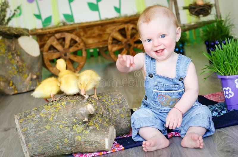 Bébé avec des canards image stock