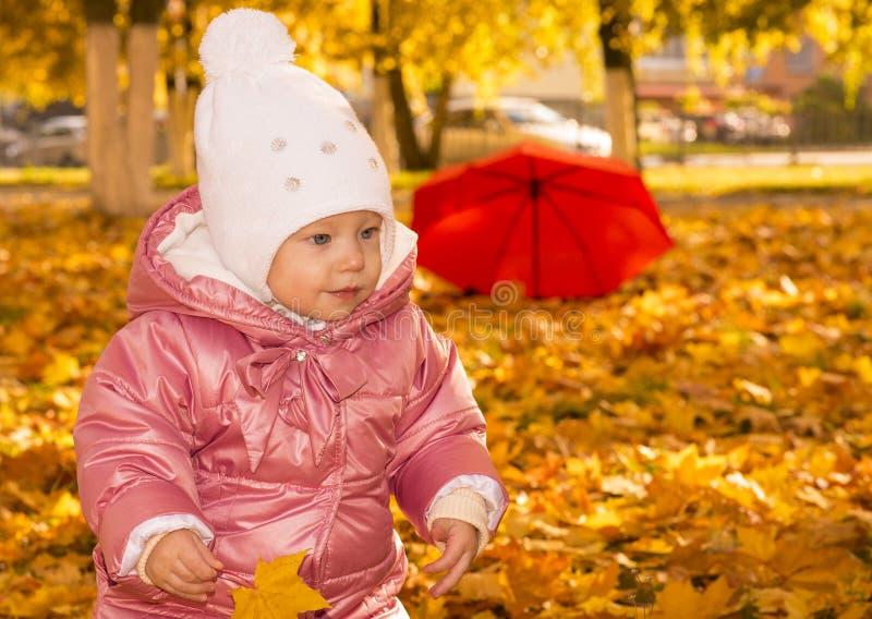 Bébé avec des feuilles d'automne image libre de droits