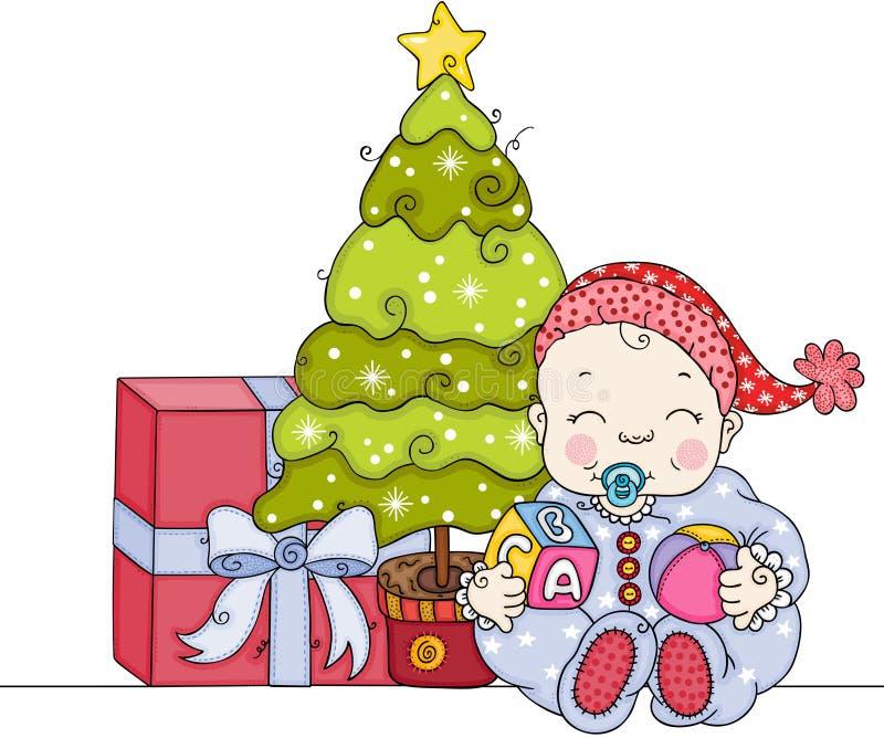 Bébé avec l'arbre et le cadeau de Noël illustration stock