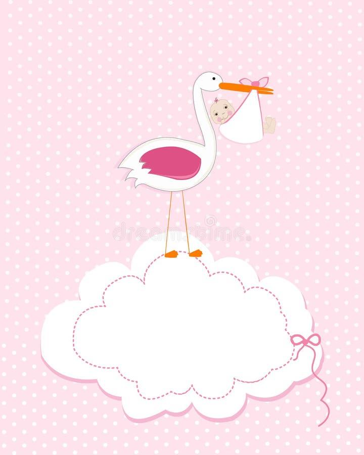Bébé avec la cigogne Carte de voeux d'arrivée de bébé Illustration nouveau-née de bébé d'invitation de fête de naissance illustration libre de droits