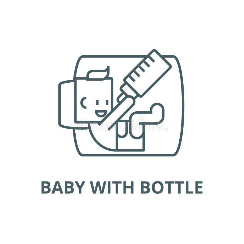 Bébé avec la ligne icône, vecteur de bouteille Bébé avec le signe d'ensemble de bouteille, symbole de concept, illustration  illustration stock