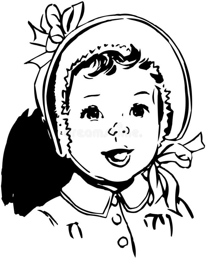 Bébé avec le capot rond illustration stock