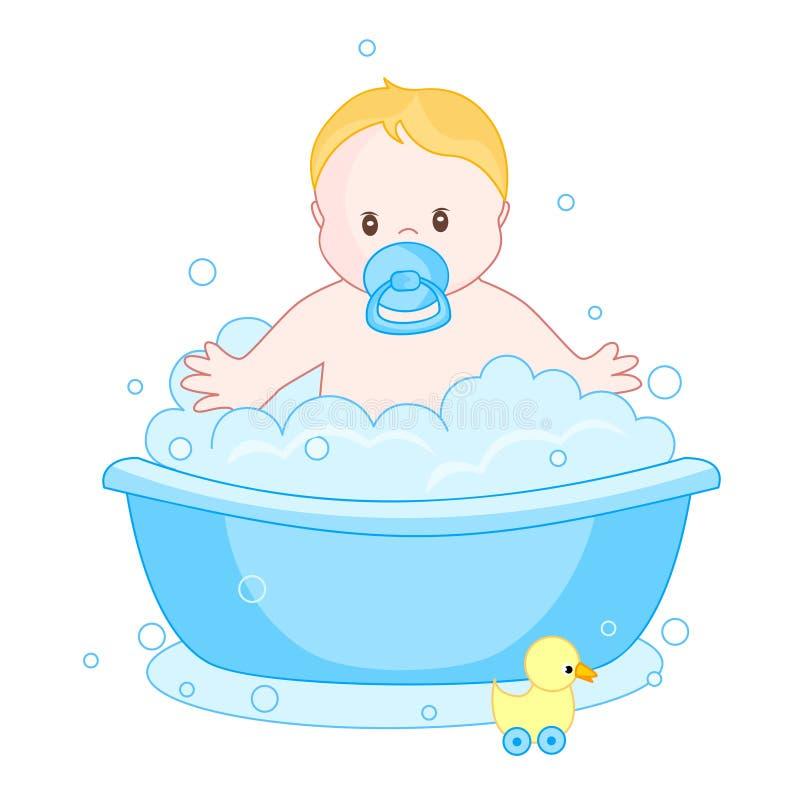 Bébé ayant un bain illustration stock