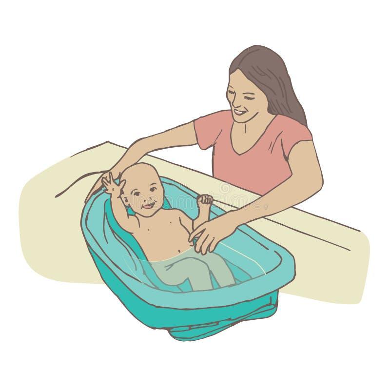 Bébé baigné par sa mère dans une baignoire de lavage de bébé illustration stock